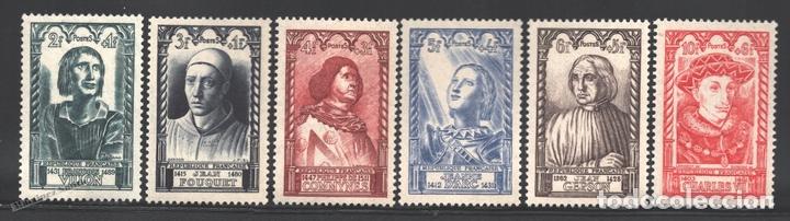 FRANCIA 1946 YVERT 765-70, CELEBRIDADES DEL SIGLO XV - NUEVO ** (Sellos - Extranjero - Europa - Francia)