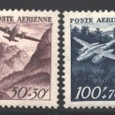 Sellos: FRANCIA 1947 YVERT CORREO AÉREO 21-22, AVIACIÓN, AVIADORES FRANCESES - NUEVO **. Lote 166412494