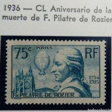 Sellos: FRANCIA 1936. YVERT 313**. F. PILATRE DE ROZIER.. Lote 168523430
