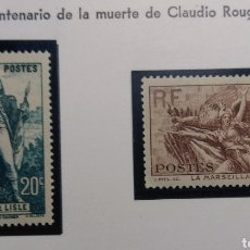 Sellos: FRANCIA 1936. CENT. CLAUDIO ROUGET. YVERT 314/315**.. Lote 168613648