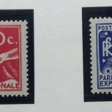 Sellos: FRANCIA 1936. EXPOS. INTERN. PARÍS. YVERT 326/327**.. Lote 168624964