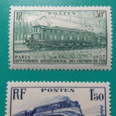 Sellos: FRANCIA 1937. FERROCARRILES. YVERT 339/340**.. Lote 168630290