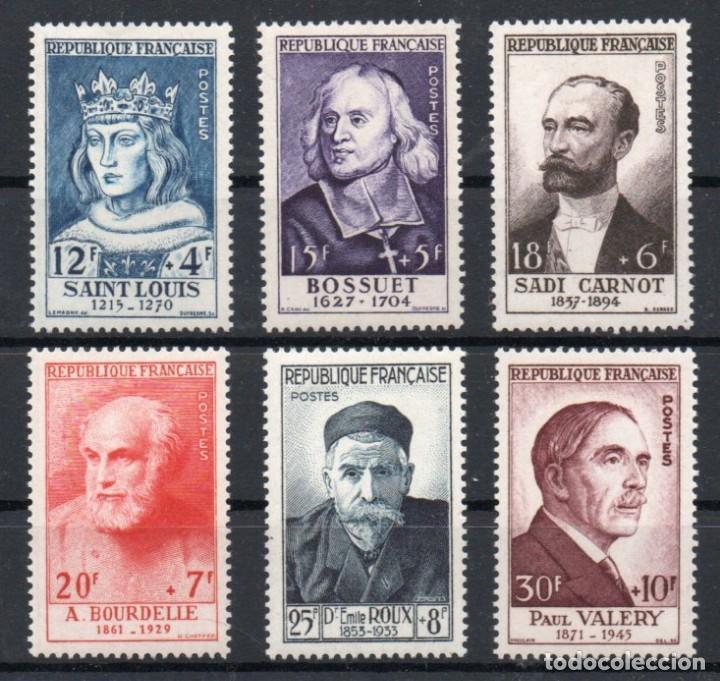 FRANCIA AÑO 1954 YV 989/94*** PERSONAJES CÉLEBRES DEL SIGLO XII AL XX (Sellos - Extranjero - Europa - Francia)