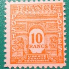 Sellos: FRANCIA 1944. ARCO DEL TRIUNFO. YVERT 629**.. Lote 168865597