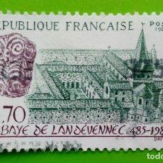 Sellos: FRANCE-1985. ABBAYE DE LA LANDÉVENNEC. USED. Lote 169110552