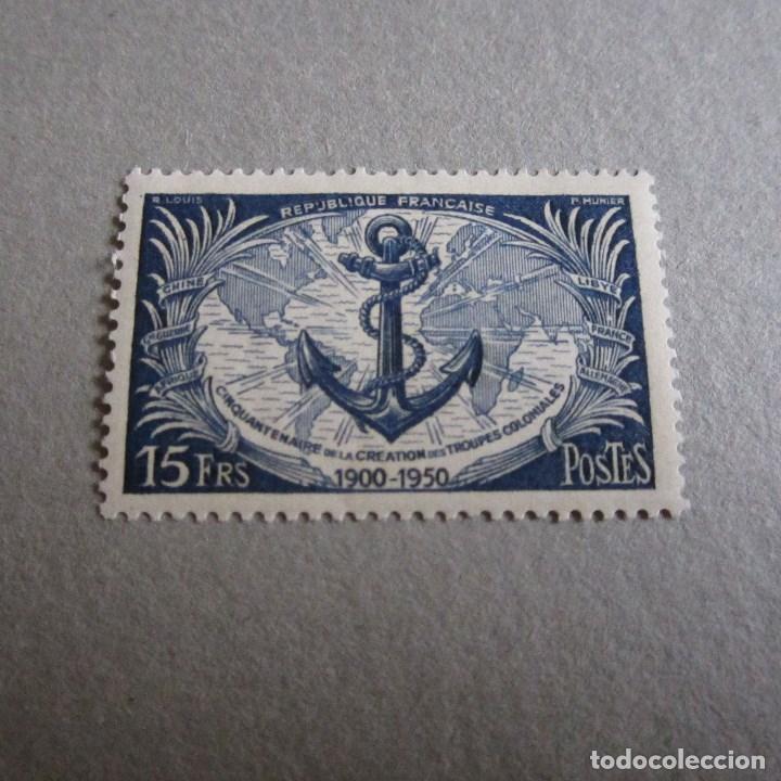 FRANCIA 1950 YVERT Nº 889*, 50ª ANIVERSARIO DE LAS TROPAS COLONIALES. FIJASELLOS (Sellos - Extranjero - Europa - Francia)