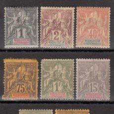 Sellos: COLONIA FRANCESAS, MADAGASCAR, 1896 - 1902 LOTE DE SELLOS NUEVOS, . Lote 174031914