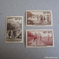 Sellos: FRANCIA 1937 YVERT 345/47*, EN BENEFICIO DE OBRAS SOCIALES Y DEPORTIVAS TRABAJDORES PTT. FIJASELLOS. Lote 174585087