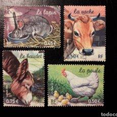 Sellos: FRANCIA. YVERT 3662/5 SERIE COMPLETA USADA. FAUNA. ANIMALES DE GRANJA.. Lote 176597758