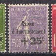 Sellos: FRANCIA, 1931 YVERT Nº 275 / 277 /*/ CAJAS DE AMORTIZACIÓN. . Lote 178983600