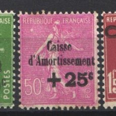Sellos: FRANCIA, 1929 YVERT Nº 253 / 255 /*/ CAJAS DE AMORTIZACIÓN. . Lote 178983712