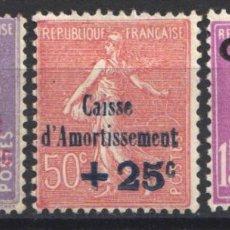 Sellos: FRANCIA, 1928 YVERT Nº 249 / 251 /*/ CAJAS DE AMORTIZACIÓN. . Lote 178983885