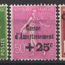 Sellos: FRANCIA, 1929 YVERT Nº 253 / 255 /*/ CAJAS DE AMORTIZACIÓN. . Lote 178983970