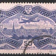 Sellos: FRANCIA, AÉREO 1954 YVERT Nº 15, AVIÓN SOBREVOLANDO PARIS . Lote 178986480