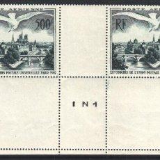 Sellos: FRANCIA, AÉREO 1947 YVERT Nº 20 /**/,12º CONGRESO U.P.U. VISTA DE PARÍS , SIN FIJASELLOS . Lote 179176858
