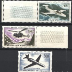 Sellos: FRANCIA, AÉREO 1947 YVERT Nº 35 / 37 /**/, AVIONES, HELICÓPTERO, SIN FIJASELLOS . Lote 179177447
