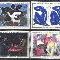 Sellos: FRANCIA, 1961 YVERT Nº 1319 / 1322 /**/, PINTURAS MODERNAS, SIN FIJASELLOS . Lote 179185836