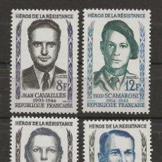 Sellos: R18/ FRANCIA 1958, Y&T 1157/60 MH*, HÉROS DE LA RESISTANCE. Lote 182009511