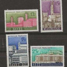 Sellos: R18/ FRANCIA 1958, Y&T 1152/55 MH*, VILLES RECONSTRUITES. Lote 182009955