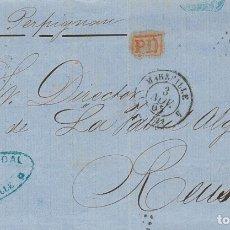 Sellos: FRANCIA. SOBRE YV 23. 1865. 40 CTS NARANJA (DOBLEZ DE ARCHIVO). MARSELLA A REUS. MATASELLO ROMBO DE. Lote 183131432
