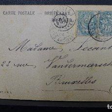 Sellos: ENTERO POSTAL DE FRANCIA A BELGICA CON 2 SELLOS DE 5 CTMS. AÑO 1904 POSIBLE TETE BECHE. Lote 183210850