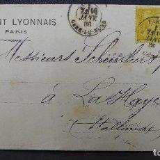 Sellos: CARTA DE PARIS A LA HAYA SELLO DE 25 CTS AÑO 1886 PERFORADO C L DEL BANCO CREDIT LYONNAISE. Lote 183401570