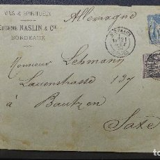 Sellos: CARTA DE BORDEAUX FRANCIA A SAXE ALEMANIA CON SELLO DE 15 CTS. Y OTRO DE 10 CTS. AÑO 1876. Lote 183405436