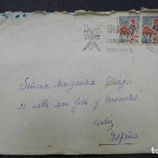 Sellos: CARTA DE FRANCIA A ESPAÑA CON 2 SELLOS DE 15 CTS. AÑO 1966 MATASELLOS ALLOCATIONS FAMILIALES. Lote 183421142