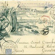 Sellos: 1893. ENTERO POSTAL CONMEMORATIVO DEL CENTENARIO DE DUNKERQUE. PARÍS A GINEBRA. FRANCIA. SUIZA.. Lote 183606071