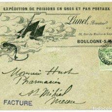 Sellos: 1900. SOBRE ILUSTRADO ENVIADO DE BOULOGNE SUR MER A SAINT MIHIEL, MEUSE. PESCA, BARCO.. Lote 183608011
