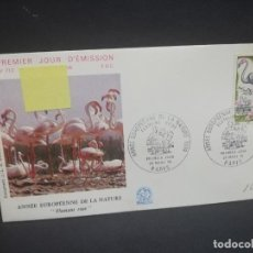 Sellos: SOBRE PRIMER DIA. FRANCIA. ANNEE EUROPEENNE DE LA NATURE. FLAMANT ROSE. PARIS. 1970.. Lote 184924161