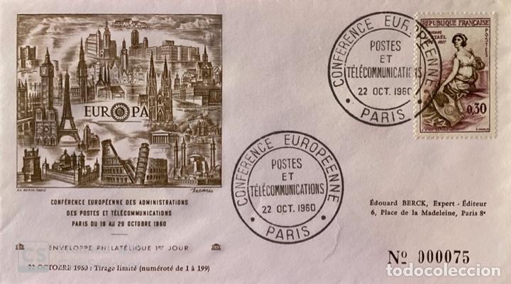 SOBRE PRIMER DIA. FRANCIA. CONFERENCE EUROPEENNE. POSTES ET TELECOMMUNICATIONS. PARIS, 1960. (Sellos - Extranjero - Europa - Francia)