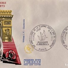 Sellos: SOBRE PRIMER DIA. FRANCIA.50 ANNIVERSAIRE DE LA FLAMME SOUS L'ARC DE TRIOMPHE. PARIS, 1973. . Lote 185739098