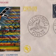 Sellos: SOBRE PRIMER DIA. FRANCIA. PREMIER JOUR. EUROVISION. 25 ANNIVERSAIRE. PARIS, 1980. . Lote 185742537