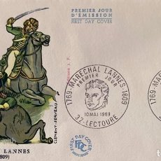 Sellos: SOBRE PRIMER DIA. FRANCIA. PREMIER JOUR. MARECHAL LANNES 1769-1809. LECTOURE, 1969. VER FOTO. Lote 185744445
