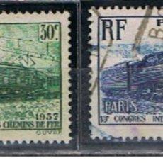 Sellos: SELLOS FRANCIA // Y&T 339, 340 // 1937 .. SERIE COMPLETA . USADA . TRENES. Lote 186104156