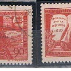 Sellos: SELLOS FRANCIA // Y&T 341 , 342 // 1937.. SERIE COMPLETA . USADA . RENE DESCARTES. FILOSOFIA. Lote 186104475