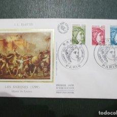 Sellos: SOBRE PRIMER DÍA. FRANCIA. FRANCE. 1981. PARIS. J. L. DAVID. SABINE. MUSEE DU LOUVRE. Lote 186201213