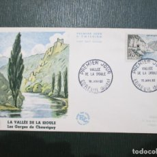 Sellos: SOBRE PRIMER DÍA. FRANCIA. FRANCE. 1960. EBREUIL ALLIER. VALLEE DE LA SIOULE. . Lote 186201462