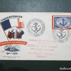Sellos: SOBRE PRIMER DÍA. FRANCIA. FRANCE. 1951. PARIS. TROUPES COLONIALES. . Lote 186202652