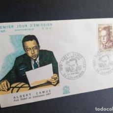 Sellos: SOBRE PRIMER DIA. FRANCIA. ALBERT CAMUS. PRIE NOBEL DE LITTERATURE. LOURMARIN. 1960.. Lote 188514821