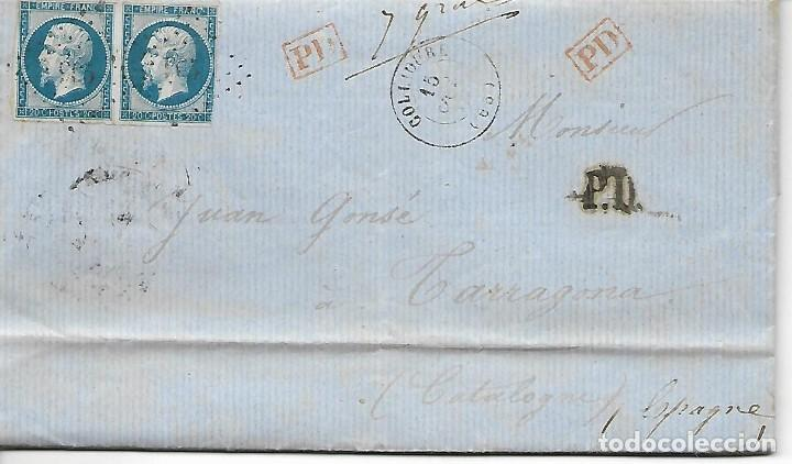 SOBRE - 1862 CARTA COMERCIAL DESDE COLLIOURE - FRANCIA A TARRAGONA VER REINTEGROS Y MATASELLOS (Sellos - Extranjero - Europa - Francia)