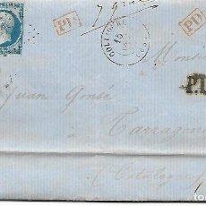 Sellos: SOBRE - 1862 CARTA COMERCIAL DESDE COLLIOURE - FRANCIA A TARRAGONA VER REINTEGROS Y MATASELLOS. Lote 189829928