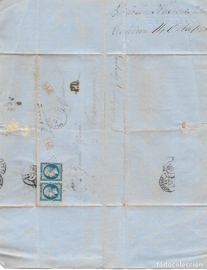 Sellos: SOBRE - 1862 CARTA COMERCIAL DESDE COLLIOURE - FRANCIA A TARRAGONA VER REINTEGROS Y MATASELLOS - Foto 4 - 189829928