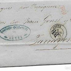 Sellos: SOBRE - 1861 CARTA COMERCIAL DESDE CETTE - FRANCIA A TARRAGONA VER REINTEGROS Y MATASELLOS. Lote 189830227