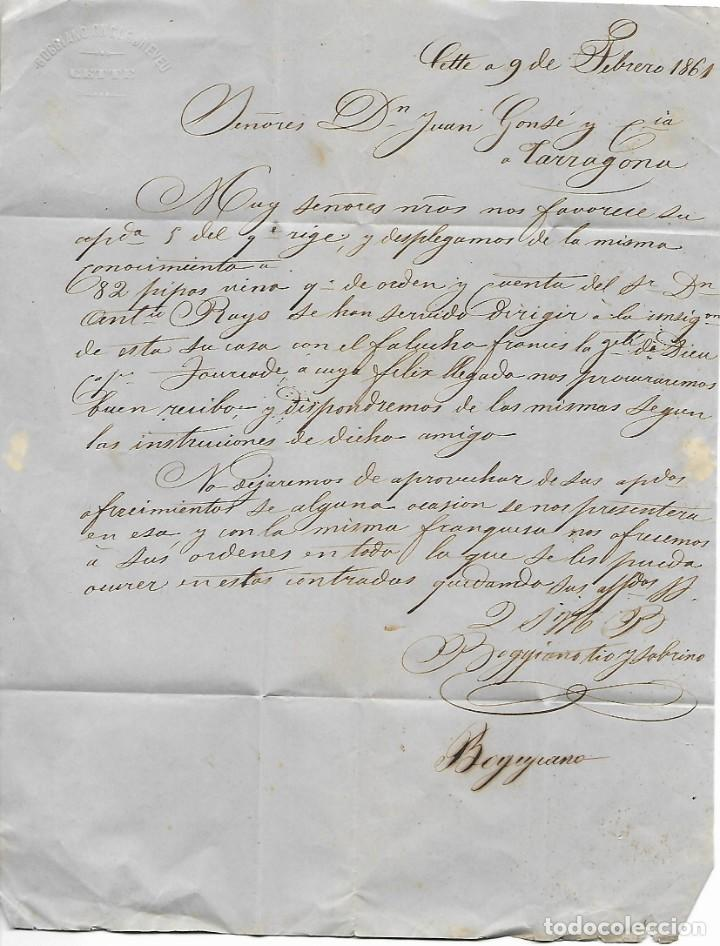 Sellos: SOBRE - 1861 CARTA COMERCIAL DESDE CETTE - FRANCIA A TARRAGONA VER REINTEGROS Y MATASELLOS - Foto 2 - 189830227