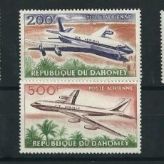Sellos: DAHOMEY 1963 AVIONES PLANES AIR AFRIQUE Y&T A 24/27** NUEVOS SIN SEÑAL DE FIAJSELLOS. Lote 189952518