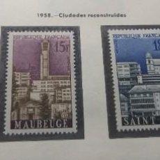 Sellos: FRANCIA 1958. CIUDADES RECONSTRUIDAS.. Lote 189982625