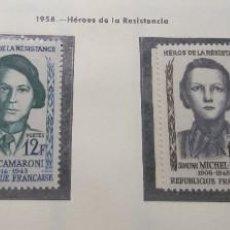 Sellos: FRANCIA 1958. HEROES DE LA RESISTENCIA.. Lote 189982657