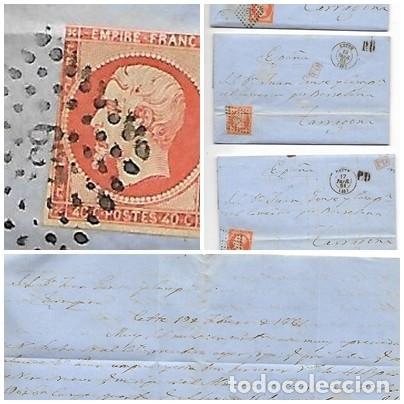 3 SOBRES - CARTA COMERCIAL REINTEGRADO AÑO 1861 - DESDE CETTE - FRANCIA - A TARRAGONA (Sellos - Extranjero - Europa - Francia)